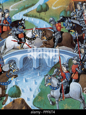 History of Gaul.  Titus Manlius Torquatus (Consul 347 B.C.) decide the fate of Rome in a fight against a Gallic warrior. Miniature of the 15th century. Chateau de Chantilly. France. - Stock Photo