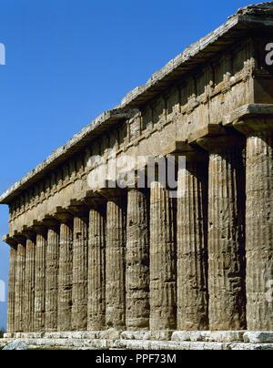 Paestum. Temple of Poseidon. 5th century BC. Italy. - Stock Photo