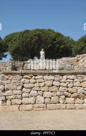Greek Art. Emporium (Ampurias). Greek colony founded by the greeks of Foci, 570 BC. Statue of Asclepius. God of medicin. Neapolis.  Girona province. Catalonia. Spain. Europe.