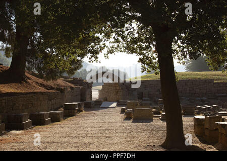 Greek Art. Sanctuary of Olympia. Entrance to olympic stadium. The east of archaelogical site.  Elis. Peloponesse. Greece. Europe. - Stock Photo