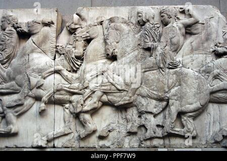 Greek Art. Parthenon. 5th century B.C. North frieze. XLIII. Riders. It comes from the Acropolis in Athens. British Museum. London. England. UK. - Stock Photo