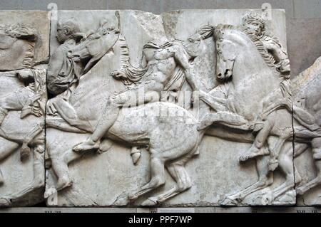 Greek Art. Parthenon. 5th century B.C. North frieze. XLI. Riders. It comes from the Acropolis in Athens. British Museum. London. England. UK. - Stock Photo