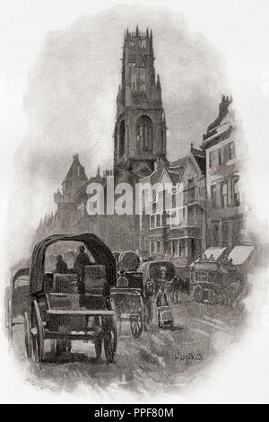 Fleet Street, London, England, showing the old houses and the church of St Dunstan-in-the-West  in the 19th century.  From London Pictures, published 1890. - Stock Photo