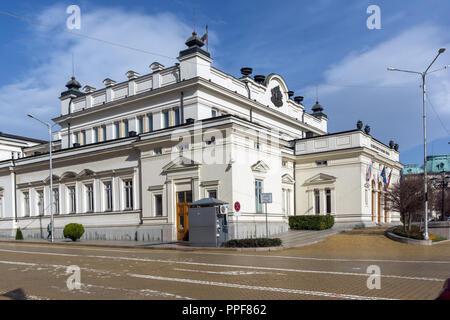 SOFIA, BULGARIA - MARCH 17, 2018: National Assembly in city of Sofia, Bulgaria - Stock Photo