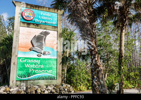 West Palm Beach Florida Grassy Waters Nature Preserve wetlands ecosystem public utilities department land - Stock Photo
