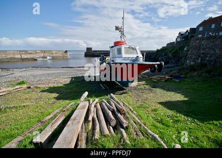 The small fishing village of Craster on the Northumberland Coast, England, UK - Stock Photo