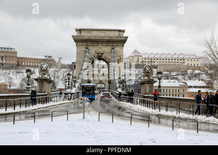 Budapest.Hungary,march.18.2018 chained bridge on winter - Stock Photo