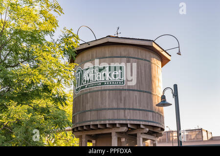 LINCOLN, NE - JULY 10, 2018: Railroad water tower in the historic Haymarket District of Lincoln, Nebraska - Stock Photo