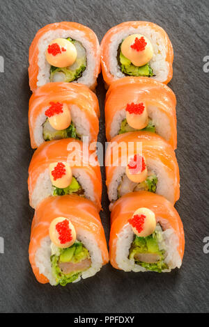 Shrimp and avocado sushi rolls - Stock Photo