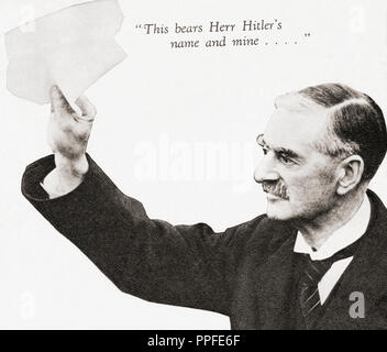 Neville Chamberlain holds the paper signed by both Hitler and himself on his return from Munich to Heston Aerodrome, after their meeting in September 1938.  Arthur Neville Chamberlain, 1869 – 1940. British Conservative Party statesman and Prime Minister of the United Kingdom.  From These Tremendous Years, published 1938. - Stock Photo