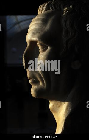 Bust identified by some as Julius Caesar (102-100-44 BC), others as dictator Sulla (138-78 BC). Perhaps an unknown Roman Republican era. 1st century A.D. Marble. Carlsberg Glyptotek Museum. Copenhagen. Denmark. Northern Europe. - Stock Photo