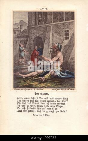 Only the Beggar is not visited by the figure of Death. Instead, this wretch sits forlornly on his crutches outside the town walls as people enter with only a glance in his direction. A young woman looks down on him from an upstairs window. This image was probably added to an earlier edition of the 'Dance of Death' to pad the number of pages. Hand-coloured engraving by Chretien de Mechel from Hans Holbein's 'The Triumph of Death,' based on original drawings by Peter Paul Rubens, 1860. - Stock Photo