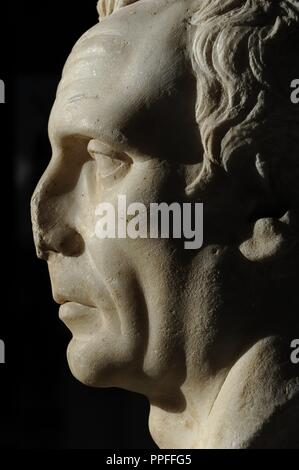 Bust identified as C. Julius Caesar (102/100-44 B.C) or as the dictador L. Cornelius Sulla (C. 138-78 B.C.). Perhaps rather an unknown Roman of the Republic. 1st century A.D. Marble. Ny Carlsberg Glyptotek. Copenhagen. Denmark. - Stock Photo