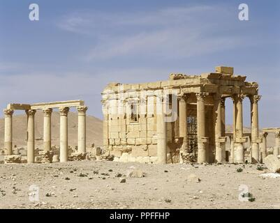 Syria. Palmyra. Temple of Baalshamin, dedicated to the Canaanite sky deity Baalshamin. The temple's earliest phase dates to the late 2nd century BC. The temple was substantially rebuilt in 131 AD. In the 5th century AD was converted to a church. It was demolished in 2015 by the Islamic State during the Syrian civil war. - Stock Photo