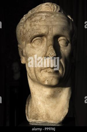 Bust identified by some as Julius Caesar (102-100-44 BC), others as dictator Sulla (138-78 BC). Perhaps an unknown Roman Republican era. S. 1st century AD. Marble. Carlsberg Glyptotek Museum. Copenhagen. Denmark. - Stock Photo