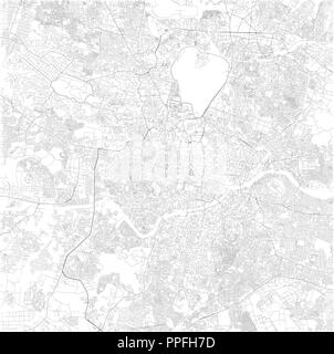 Map of Hyderabad, Telangana, satellite view, black and white map. Street directory and city map. India - Stock Photo