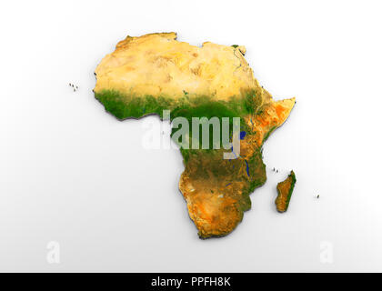 3D rendering of extruded high-resolution physical map (with relief) of the African continent, isolated on white background - Stock Photo