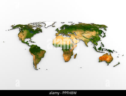 3D rendering of extruded high-resolution physical map (with relief) of the World, isolated on white background. - Stock Photo