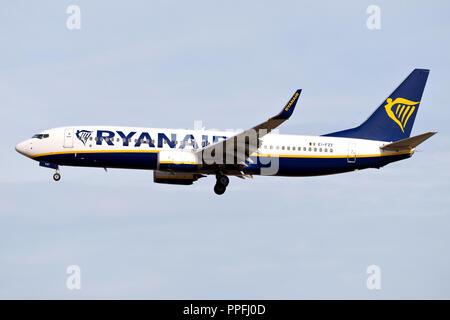 Irish Ryanair Boeing 737-800 with registration EI-FZT on short final for runway 25L of Frankfurt Airport. - Stock Photo