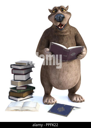 3D rendering of a charming smiling cartoon bear holding a book in his hand. A pile of books are on the floor next to him. It's storytime! White backgr - Stock Photo