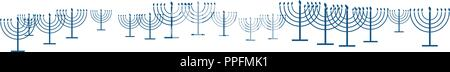 Happy Hanukkah template banner as repeat pattern of simple outline Hanukkah menorah with burning candles in blue with empty white transparent backgrou - Stock Photo