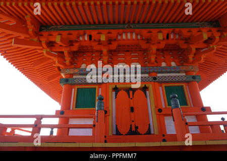 Kyoto, Japan - August 01, 2018: the first story of  three storied pagoda of the Kiyomizu-dera Buddhist Temple, a UNESCO World Cultural Heritage site.  - Stock Photo