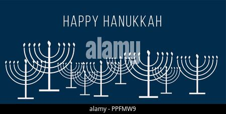 Happy Hanukkah text and repeat pattern of simple outline Hanukkah menorah with burning candles in white color with empty dark blue background for holi - Stock Photo