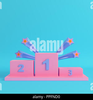 Winners podium with stars on bright blue background in pastel colors. Minimalism concept. 3d render - Stock Photo