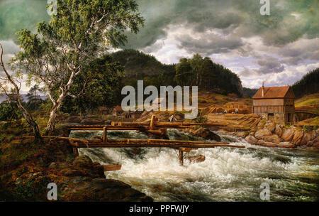 Johan Christian Dahl - Hellefossen near Hokksund 1838 Oil on canvas. National Gallery of Norway, Oslo, Norway. - Stock Photo