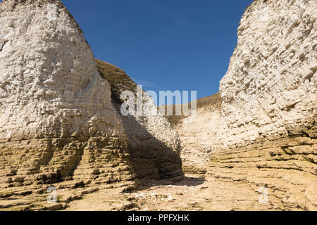 Chalk cliffs at Flamborough Head on the Yorkshire coast - Stock Photo