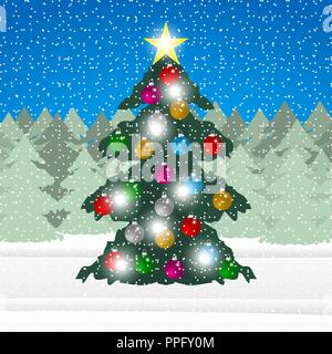 decorated Christmas tree in the forest - Stock Photo