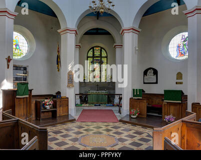 The interior of St Martin's church built in a distinctive octagonal shape; Stoney Middleton, Derbyshire, UK - Stock Photo