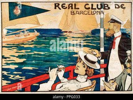 Joan Llaverias, Real Club de Barcelona 1902 Color lithograph on paper. Museu Nacional d'Art de Catalunya, Barcelona, Spain. - Stock Photo