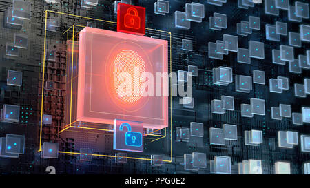 3d image of blockchain abstract background with big digital fingerprint authorisation block and two glowing padlock icons. Biometric authentication concept, render illustration - Stock Photo