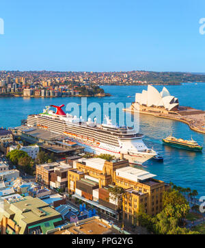 Carnival Spirit cruise ship docked at the Overseas Passenger Terminal in Sydney, New South Wales, Australia - Stock Photo