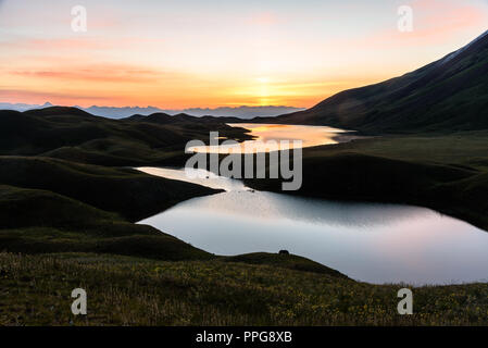 mountain lakes around Peak Lenin valley at sunrise, Kyrgyzstan - Stock Photo