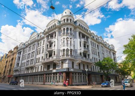 Riga Corner House, view of the former headquarters of the KGB Soviet secret police (Brivibas Iela 69) in the center of Riga, Latvia. - Stock Photo