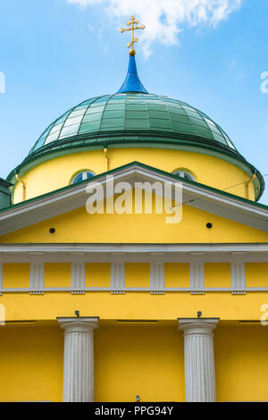 Detail of the pediment and dome of the St Alexander Nevsky Russian Orthodox Church sited at 56 Brivibas Street Riga, Latvia. - Stock Photo