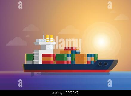 Cargo container ship transports containers at the blue ocean. Flat and solid color style vector illustration - Stock Photo