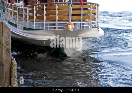 Stern of the ferry MVTern docking at Lakeside jetty on Windermere - Stock Photo