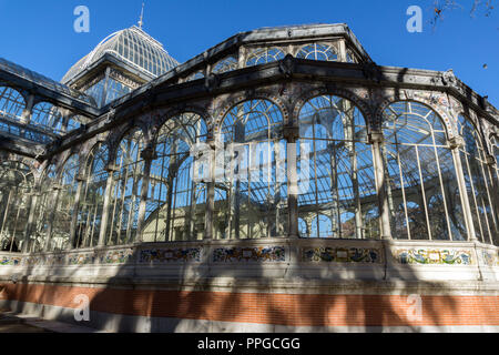 MADRID, SPAIN - JANUARY 22, 2018: Crystal Palace in The Retiro Park  in City of Madrid, Spain - Stock Photo