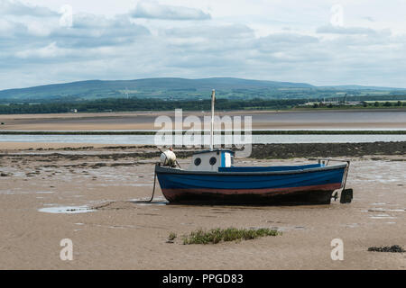 The remote Lancashire village of Sunderland Point on a June morning at low tide, England, UK with boats moored. - Stock Photo