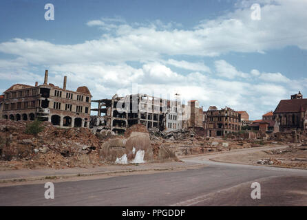 1950's Ruins of a German City Bombed in WW2, Germany - Stock Photo
