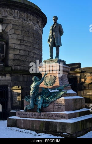 Scottish American Civil War Monument in Old Calton Burial Ground in Calton Hill, Edinburgh, Scotland - Stock Photo