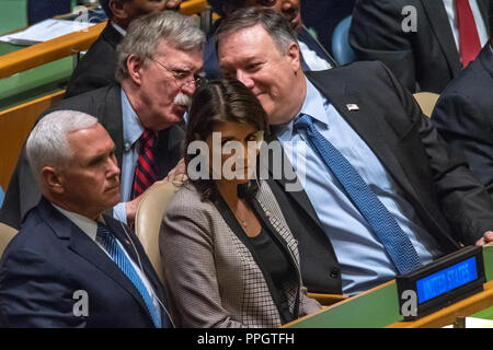 New York, USA, 25 September 2018. US Vice-President Mike Pence, UN Ambassador Nikki Haley, National Security Advisor John Bolton and Secretary of State Mike Pompeo sit at the United Nations General Assembly as they await the speech by President Donald Trump. Photo by Enrique Shore Credit: Enrique Shore/Alamy Live News - Stock Photo