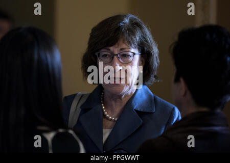Washington, District of Columbia, USA. 25th Sep, 2018. Senator Susan Collins, Republican of Maine, speaks to reporters on Capitol Hill in Washington, DC on September 25, 2018. Credit: Alex Edelman/CNP Credit: Alex Edelman/CNP/ZUMA Wire/Alamy Live News - Stock Photo