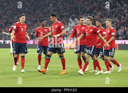 firo: 25.09.2018 Fuvuball, Football: 1.Bundesliga FC Bayern Munich - FC Augsburg, FC Bayern, Munich, Munich, jubilation, whole figures | usage worldwide - Stock Photo