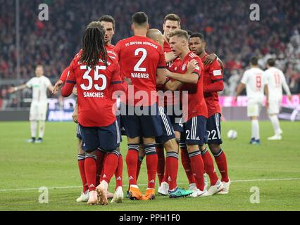 firo: 25.09.2018 Fuvuball, Football: 1.Bundesliga FC Bayern Munich - FC Augsburg, FC Bayern, Munich, Munich, jubilation, whole figures | usage worldwide - Stock Photo
