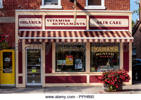 Health store on main Street in the village small town of Orono Ontario Canada. - Stock Photo