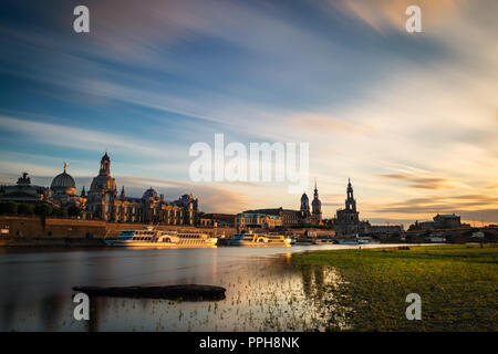 View of the oldtown of Dresden from the Neustädter Elbufer, with some of its main buildings to be recognised, including the Frauenkirche. - Stock Photo